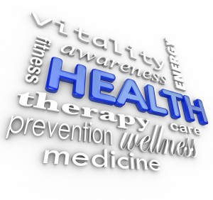 The word Health surrounded by a collage of words related to heal